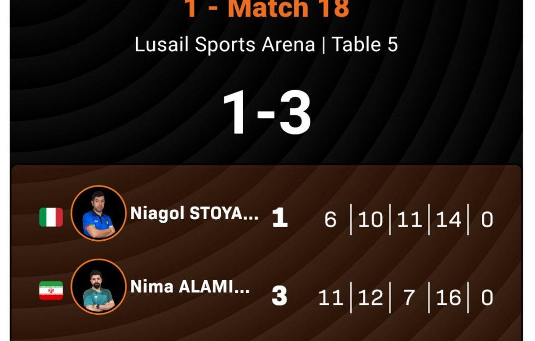 پیروزی ارزشمند نیما در مسابقات WTT STARS